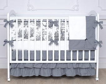 French Toile Crib Bedding