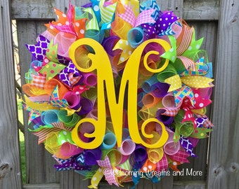 Monogram Wreath, Deco Mesh Monogram Wreath, Summer Wreath, Vine Monogram Wreath, Mesh Initial Wreath, Colorful Wreath, Everyday Wreath