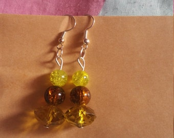 Brown and yellow drop earrings