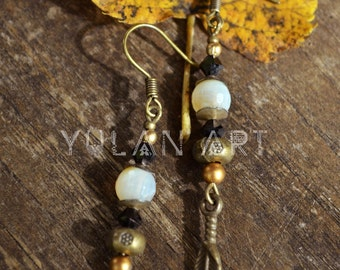 Earrings gemstone jewelry and antique brass