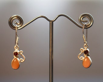 Silver Garnet and Amber Earrings