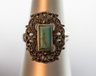 SALE-9.25 Silver Turquoise and Marcasite Rosette Ring