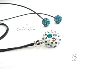 Pendant Necklace blue and chocolate