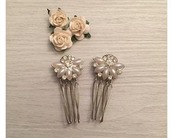 Pearl & Crystal Vintage Hair Combs