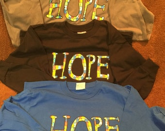 Long Sleeve Autism HOPE T-shirt Made in USA- Large sold out!