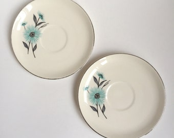 2 vintage turquoise flower saucers, silver rimmed