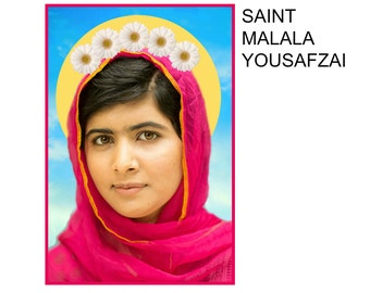 St. Malala Yousafzai Patron Saint of Education for Women Everywhere Digital Art Print Prayer Candle Label gift shrine oddity