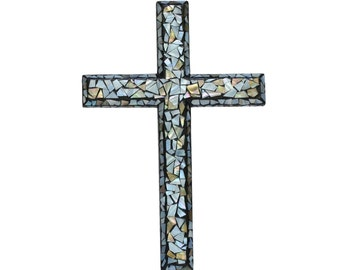 Mother of Pearl Inlaid Wall Cross (Medium 12 in - Beveled Edges)
