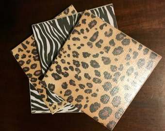 Animal Print Ceramic Coasters