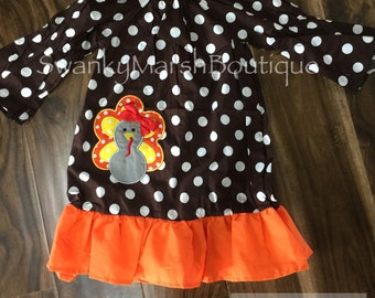 Boutique Polka Dot Dress with Turkey applique, Thanksgiving Peasant Dress ready to ship