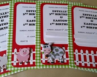Barnyard Farm Birthday Invitations