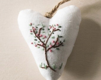 Hand Embroidered apple tree on white linen heart decoration