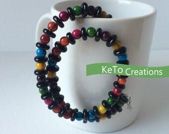 Beaded Wrap Bracelet, Memory Wire Bracelet, Oval Wire Bracelet