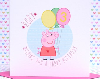 Personalised Handmade Peppa Pig Birthday Card 1st,2nd,3rd,4th,5th,6th