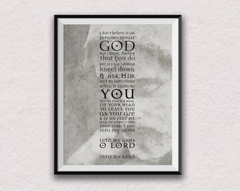 Nick Cave, song lyrics, into your arms, wall art, lyric art, home decor, statue, god, lyric artwork