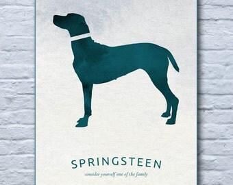 Dog lovers print, dog art, personalised pet print, watercolour style dog, dog wall art, pet wall art