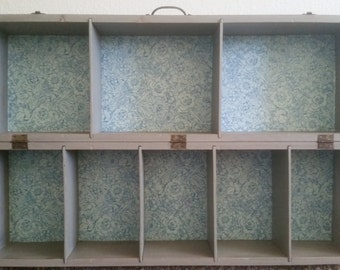 Storage cubby.  Wall cubby. Organizer. Vintage upcycled tool box/carpenters box.