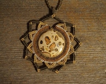 Sun Bohemian macrame necklace