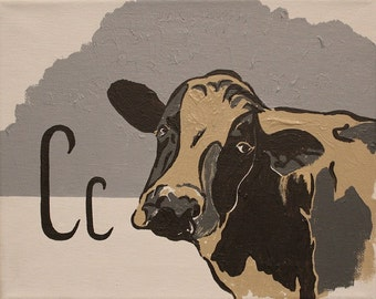 Cow & letter C painting print neutral nursery