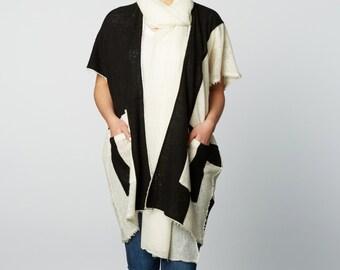 Handspun 100% Cashmere Cardigan in Black and Cream
