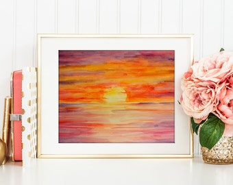 Watercolor Sunset printable for instant download