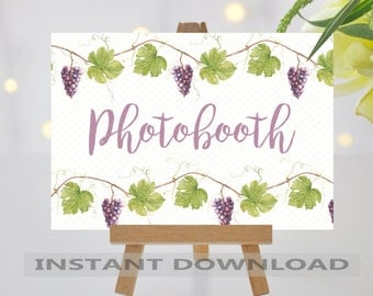 PRINTABLE Wedding Sign/Photobooth Sign/Vineyard Wedding/Grapevine Wedding Sign/Grapevine/Digital File/Instant Download