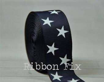 "2 yards 7/8"" Navy Blue & White Stars Grosgrain Ribbon - US Designer Print - Red White Blue - 4th of July - USA - Bows - Dog Collar Leash"