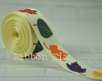 "2 yards 7/8"" Fall Leaves Grosgrain Ribbon - US Designer Print - Autumn Leaf - Ivory - Wedding - Baby Shower - Home Decor - Dog Collar Leash"
