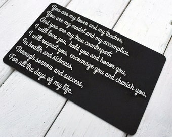Wedding Vows Engraved Wallet Insert Card Anniversary Gift Husband Wife Fathers Day Custom
