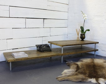 Yumiko Oak Stained Reclaimed Scaffolding Layered Height Coffee Table with Galvanised Pipe Legs - Bespoke Furniture www.urbangrain.co.uk