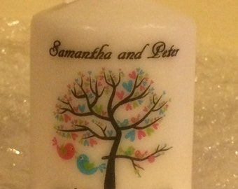 10 x Personalised Love birds in tree wedding candle favours 7.5cm tall