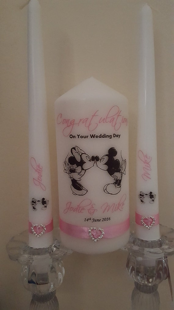 Personalised Wedding Gifts Disney : Personalised Disney Minnie and Mickey unity candle gift set wedding ...