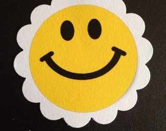 "Set of 30 2"" Happy Face Smiley Face Treat Tags"
