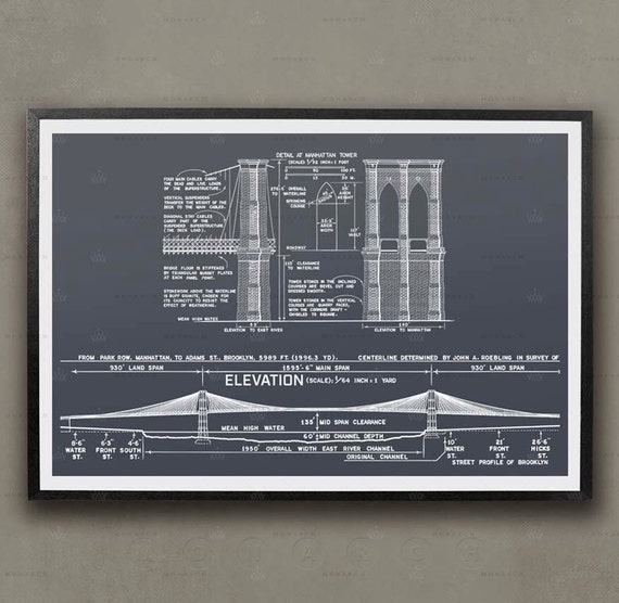 Brooklyn bridge blueprint new york city architecture by Printing architectural drawings