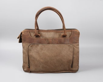 Leather Canvas Portlolio Bag - Brown