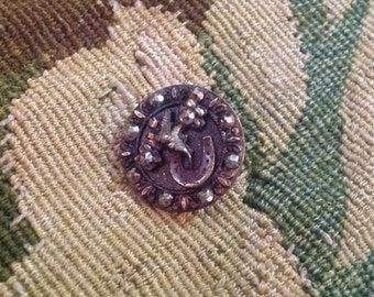 Antique Brass and Cut Steel Button. Flowers. Horse-shoe.
