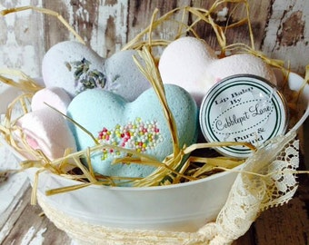 Bath Bomb and Lip Balm Gift Basket Rustic Vintage Christmas Gift Valentines Day