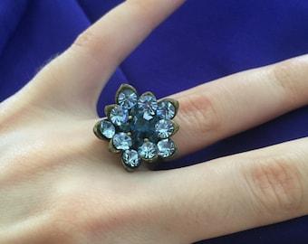 Crystal Sapphire Flower Ring