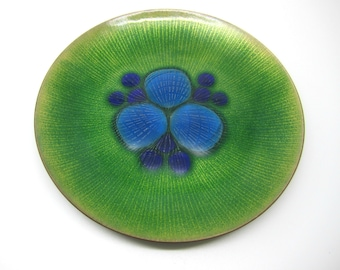 Mid Century Abstract Green Copper Enamel Plate Annemarie Davidson California USA