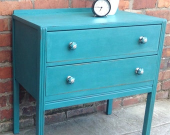 Edwardian Shabby Chic Handpainted Chest of Drawers Tourquoise Chalk Paint