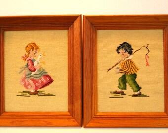 Boy and Girl Framed Needlepoint Art