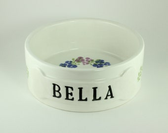 Personalized Dog Bowl Posy Stoneware