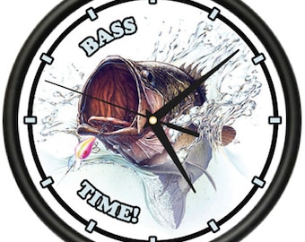 Bass Fisherman Wall Clock Boat Rod Reel Fishing Gift