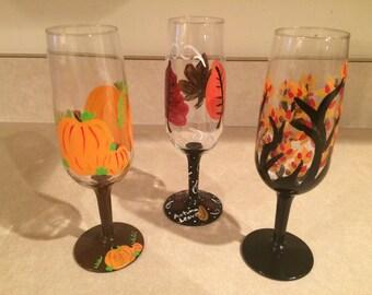 Thanksgiving/Fall Wine Glasses