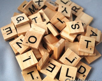 100 Wooden Letter Scrabble Tiles - Scrapbooking, Craft - UK Seller