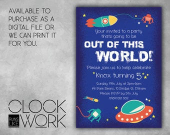 Kids Invitations, Birthday, Party, Printed or Digital File Available, Out Of This World
