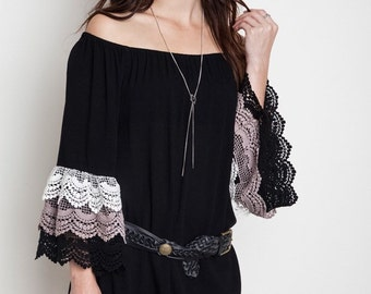 Off the Shoulder Lace Dress - Ladies Dress - Black