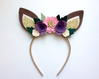 Felt Deer Fawn Ear headband - ivory, pink and eggplant flowers with glitter gold and green leaves
