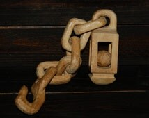 Hand Carved Wood Chain Links w/ Ball in Cage