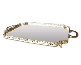 Serving tray with mirror rectangular